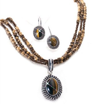 Tigers Eye Pendant on Multistrand Natural Beads Gift Set